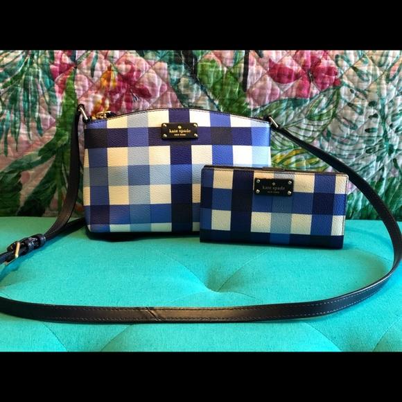 kate spade Handbags - Kate Spade blue gingham shoulder purse and wallet